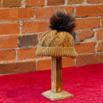 ellënoire Curly Safe Hats - Cross Cable Toffee Toque with Pom-Pom-Hat-ellënoire body, bath fragrance & curly hair