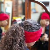 ellënoire Curly Safe Hats- Candy Red Cotton Headband-Hat-ellënoire body, bath fragrance & curly hair