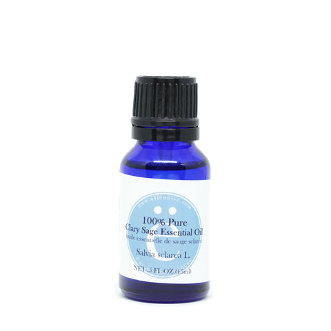 Clary Sage 100% Pure Essential Oil, 20 ml in a glass bottle with dropper top-ellenoire fragrance-ellënoire body, bath fragrance & curly hair