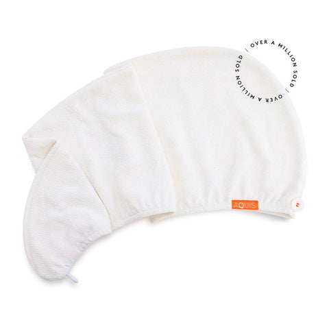 Aquis Lisse Luxe Hair Turban -White (10x30)-Towel-ellënoire body, bath fragrance & curly hair