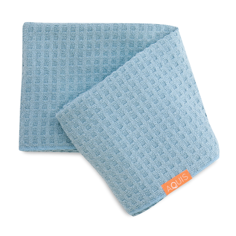 Aquis Rapid Dry Waffle Hair Towel - Dream Boat Blue (19x42)-Towel-ellënoire body, bath fragrance & curly hair