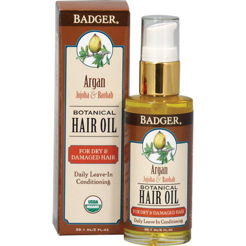 Badger Argan Hair Oil for Dry Damaged Hair-Curly Hair Products-ellënoire body, bath fragrance & curly hair