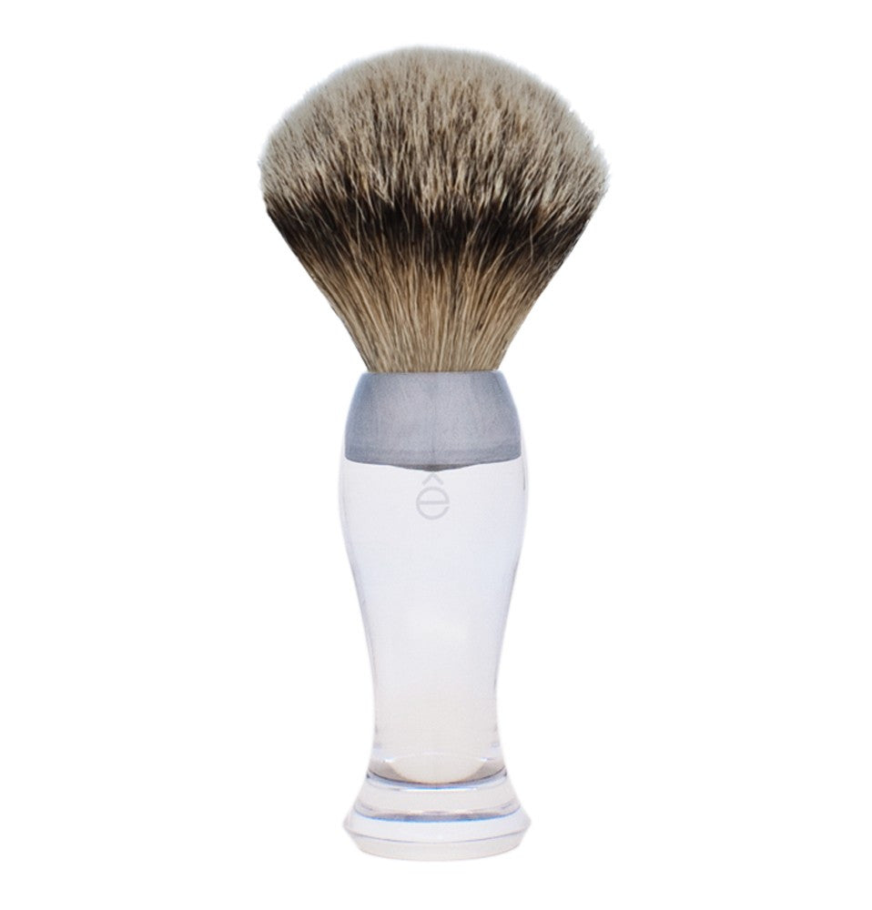 e-Shave Shaving Brush - Clear-Shaving-ellënoire body, bath fragrance & curly hair