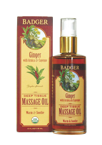 Badger Organic Ginger Deep Tissue Massage Oil-Aromatherapy-ellënoire body, bath fragrance & curly hair