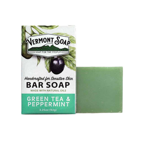 Clearance! Vermont Soap Organic Soap Bar- Green Tea & Peppermint-Soap-ellënoire body, bath fragrance & curly hair