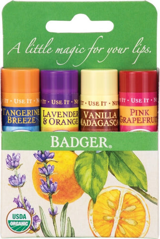 Badger 4 Pack Lip Balm-ellënoire body, bath fragrance & curly hair