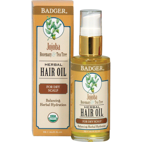 Badger Jojoba Hair Oil for Dry Scalp-Badger-ellënoire body, bath fragrance & curly hair
