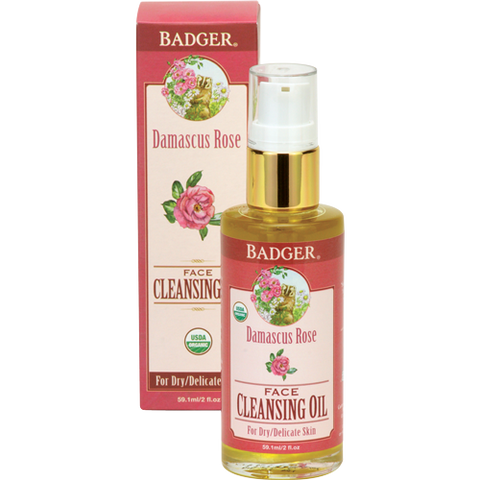 Badger Damascus Rose Face Cleansing Oil-Face Products-ellënoire body, bath fragrance & curly hair