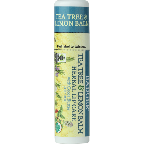 Badger Tea Tree and Lemon Balm Herbal Lip Care Balm with Cocoa Butter-Skin Care-ellënoire body, bath fragrance & curly hair