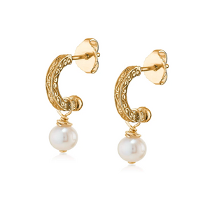 petite 18k gold vermeil engraved hoops with pearl drop