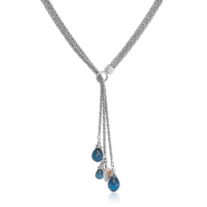 triple strand london blue topaz silver lariat with keshi pearls