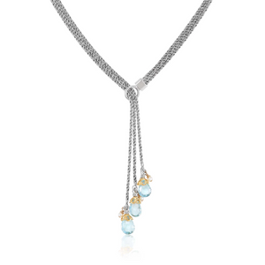triple strand blue topaz lariat with silvery gray pearls