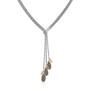 triple strand two-tone lariat with labradorite twists and silvery gray pearls