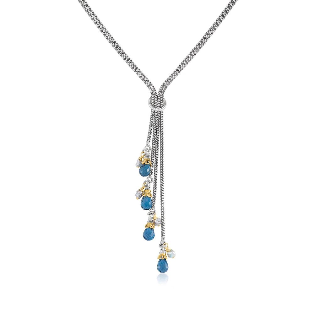four strand necklace with london blue topaz and japanese akoya pearls