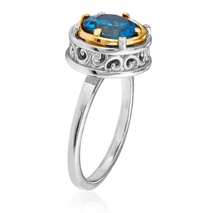 round london blue topaz ring with 18k gold vermeil