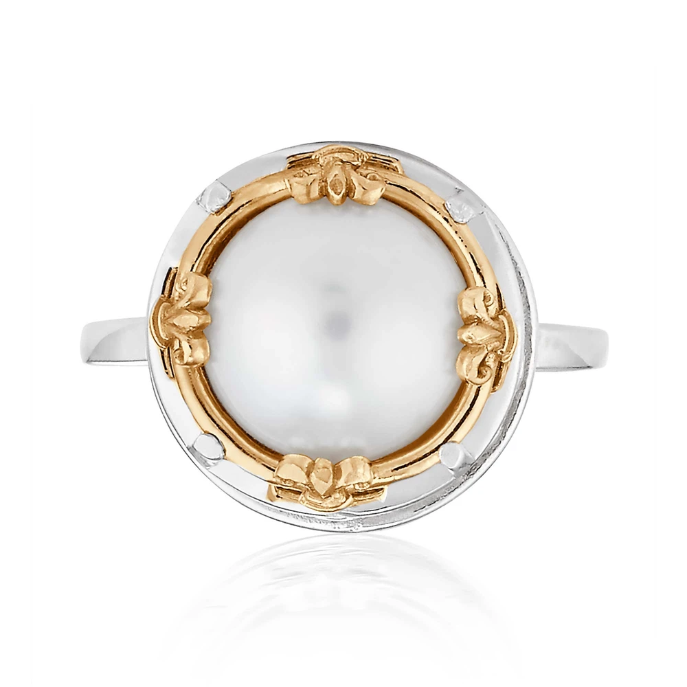 large round pearl ring with 18k gold vermeil