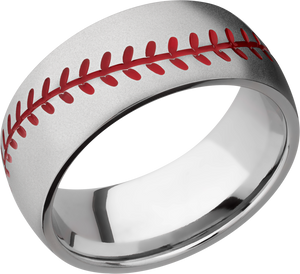 lashbrook titanium collection titanium 8mm domed band 8dbaseball_a+red_bead