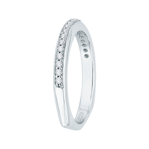 14K White Gold Round Diamond Half Eternity Wedding Band with Euro Shank