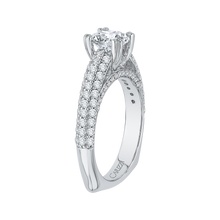 Load image into Gallery viewer, Round Diamond Euro Shank Cathedral Style Engagement Ring In 14K White Gold (Semi Mount)
