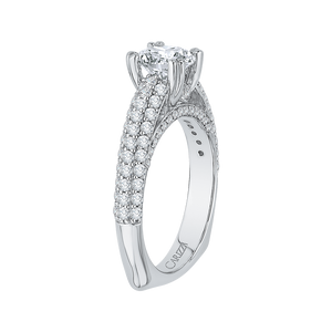 Round Diamond Euro Shank Cathedral Style Engagement Ring In 14K White Gold (Semi Mount)