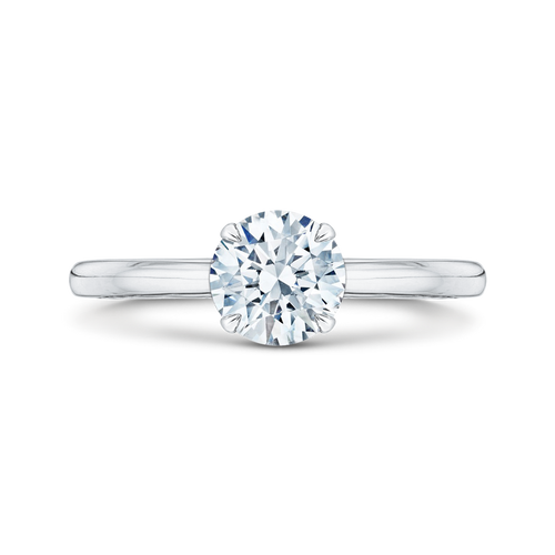 CA0038E-W Bridal Jewelry Carizza White Gold Round Diamond Solitaire Engagement Rings