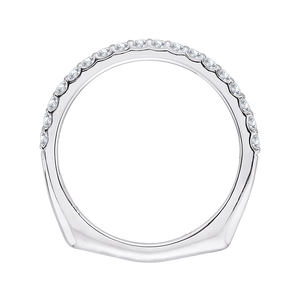 Round Diamond Half Eternity Wedding Band with Euro Shank In 14K White Gold