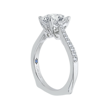 Load image into Gallery viewer, 14K White Gold Round Diamond Solitaire with Accents Engagement Ring (Semi Mount)