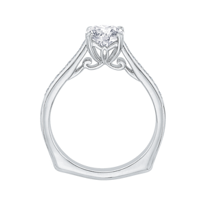14K White Gold Round Diamond Solitaire with Accents Engagement Ring (Semi Mount)