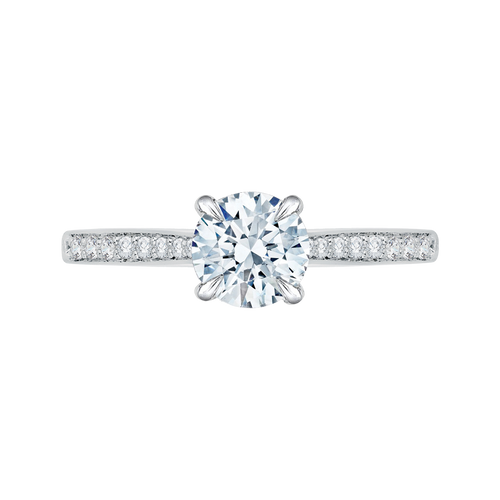 CA0040E-37W-1.50 Bridal Jewelry Carizza White Gold Round Diamond Solitaire Engagement Rings