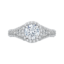 Load image into Gallery viewer, CA0041E-37W Bridal Jewelry Carizza White Gold Round Diamond Halo Engagement Rings
