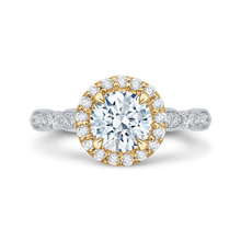 Load image into Gallery viewer, CA0042E-37WY Bridal Jewelry Carizza White Gold Rose Gold Yellow Gold Vintage Round Diamond Halo Engagement Rings