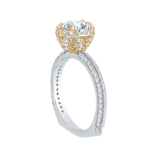 Load image into Gallery viewer, 14K Two Tone Gold Euro Shank Round Diamond Engagement Ring (Semi Mount)