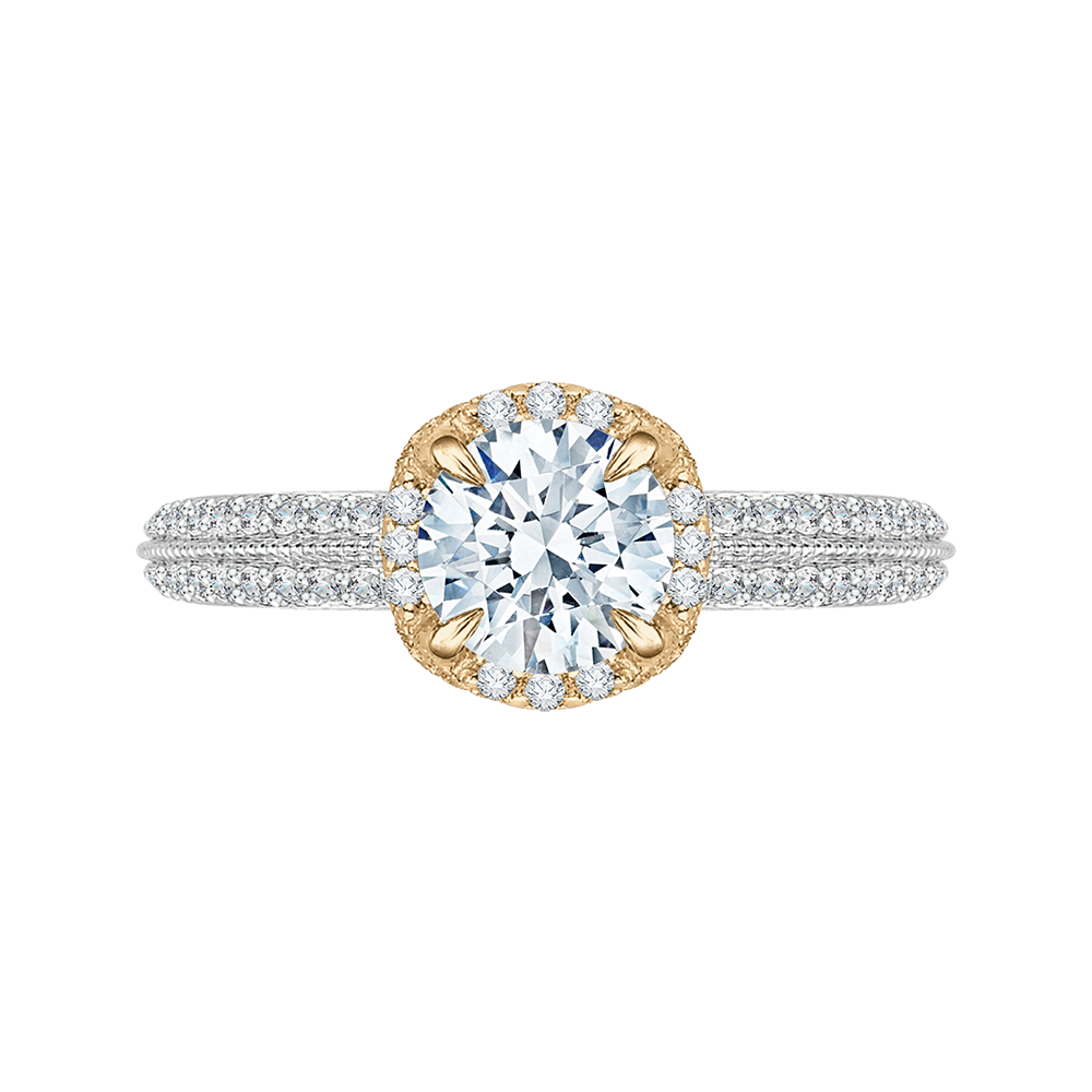 CA0045E-37WY Bridal Jewelry Carizza White Gold Rose Gold Yellow Gold Round Diamond Engagement Rings