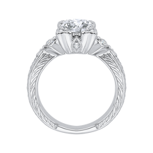Load image into Gallery viewer, Round Diamond Vintage Engagement Ring In 14K White Gold (Semi Mount)