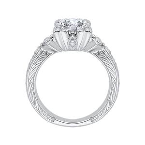 Round Diamond Vintage Engagement Ring In 14K White Gold (Semi Mount)