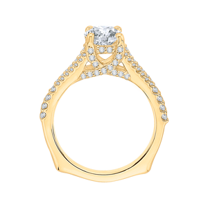 14K Yellow Gold Round Diamond Engagement Ring with Split Shank (Semi Mount)