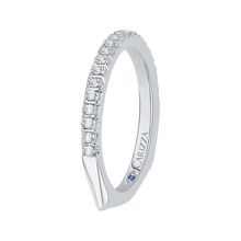 Load image into Gallery viewer, 14K White Gold Half Eternity Diamond Wedding Band with Euro Shank