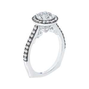 14K White Gold with Black Rhodium Tips Round Diamond Halo Engagement Ring (Semi Mount)