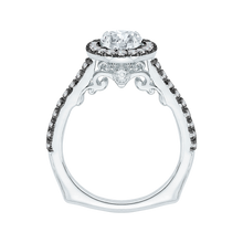 Load image into Gallery viewer, 14K White Gold with Black Rhodium Tips Round Diamond Halo Engagement Ring (Semi Mount)
