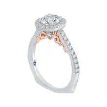 Load image into Gallery viewer, Round Cut Diamond Halo Engagement Ring In 14K Two Tone Gold (Semi Mount)