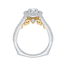 Load image into Gallery viewer, 14K Two Tone Gold Round Cut Diamond Halo Engagement Ring (Semi Mount)