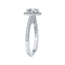 Load image into Gallery viewer, 14K White Gold Round Cut Diamond Halo Engagement Ring (Semi Mount)