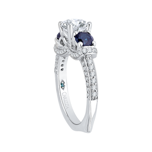 14K White Gold Euro Shank Round Diamond and Sapphire Three Stone Engagement Ring (Semi Mount)