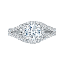 Load image into Gallery viewer, CA0057E-37W Bridal Jewelry Carizza White Gold Round Diamond Halo Engagement Rings