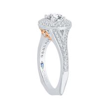Load image into Gallery viewer, 14K Two Tone Gold Round Diamond Double Halo Engagement Ring with Split Shank (Semi Mount)