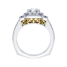 Load image into Gallery viewer, 14K Two Tone Gold Round Diamond and Sapphire Engagement Ring (Semi Mount)
