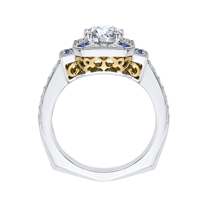 14K Two Tone Gold Round Diamond and Sapphire Engagement Ring (Semi Mount)