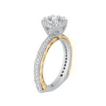Load image into Gallery viewer, 14K Two Tone Gold Round Diamond Engagement Ring with Euro Shank (Semi Mount)