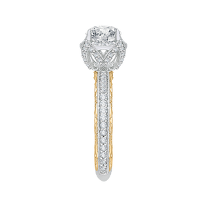 14K Two Tone Gold Round Diamond Engagement Ring with Euro Shank (Semi Mount)