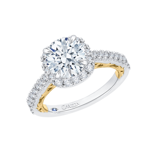 14K Two Tone Gold Round Diamond Halo Engagement Ring (Semi Mount)